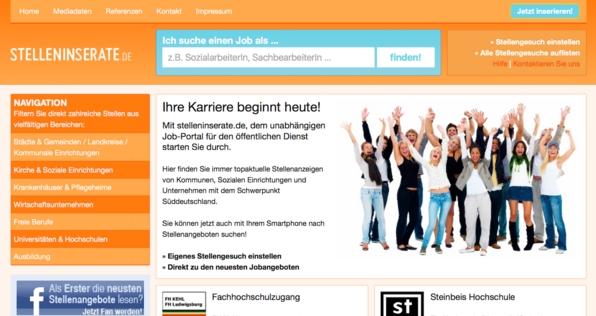 Screenshot Homepage Stelleninserate